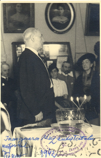 Liviu Rebreanu, the director of the National Theatre, at the opening of the theatre's Museum, on the 10th of September 1942